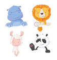 set cute tropical animals hippo lion llama vector image