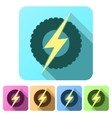 Set Flat icons of round wheel with lightning Eco vector image vector image