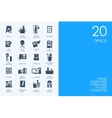 Set of BLUE HAMSTER Library office icons vector image