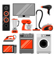 set of home appliances household items for sale vector image vector image