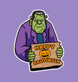 smiling frankenstein give halloween greeting vector image