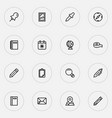 stationery icons line style set with pencil vector image