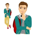 student with backpack thinking about something vector image vector image