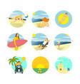 summer activity scenery design template set vector image vector image