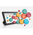 Tablet with educational icons vector image vector image