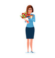 teacher holds flowers presents and a postcard on vector image