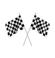 two racing flags crossed realistic vector image
