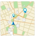 Using phone for street map navigation vector image