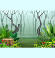 view of forest plants in the fog vector image