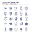 vintage travel and tourism icon set - 25 flat vector image