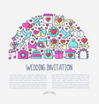 wedding invitation concept in half circle vector image vector image
