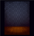 wood room with wallpaper blue vector image