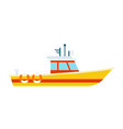 yellow boat with a white cabin watercraft vector image vector image