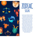 zodiac signs on dark skies backgrounds vector image