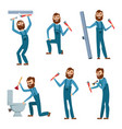 plumber at work characters design set vector image