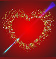 heart pierced by the arrow of love heart in a vector image
