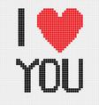 pixel I love you vector image