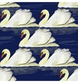 seamless pttern with swan on blue vector image