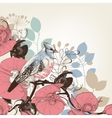 Orchid flowers and bird retro background vector image