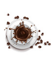3d realistic cup coffee with splashing vector image vector image