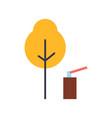 autumn tree ax in stump landscape set vector image vector image
