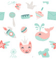 bagoods seamless pattern with toys and other vector image