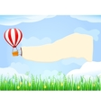 Balloon in Blue Sky with Placard Copy Space vector image vector image
