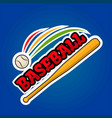 baseball logo design with moving ball and wooden vector image vector image