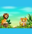 cartoon wild animal in the beautiful park vector image vector image