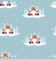christmas winter pattern with funny gnome vector image vector image