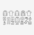 clothing icon set in linear style fashion vector image vector image