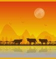 cows silhouette at sunset background vector image vector image
