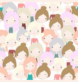 cute girl pastel colorful seamless pattern vector image