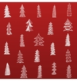 Doodle Christmas Tree Set on red Background vector image