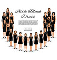fashion little black dresses set of women vector image vector image