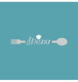Fork spoon word menu and small chef hat card Flat vector image