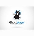 ghost player logo template design emblem design vector image