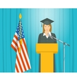 Graduation ceremony speech by a girl graduate at vector image vector image