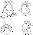 Happy cows Clip Art Cartoon Coloring book vector image vector image