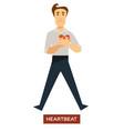 Heartbeat sunstroke symptom man holding heart