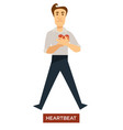 heartbeat sunstroke symptom man holding heart vector image vector image