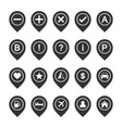 icon set of map pins or pointers place location vector image vector image