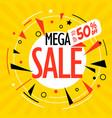 mega sale folded paper banner vector image