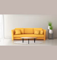 modern interior with yellow sofa vector image vector image