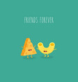 pasta and cheese are friends forever vector image