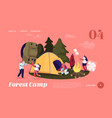 people spend time at camp in forest landing page vector image vector image