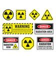 radiation danger sign set radioactive hazard vector image vector image