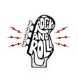 rock and roll hand drawn phrase on guitar neck vector image vector image