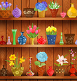 rustic interior with glass vases and flowers vector image vector image