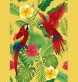 seamless pattern tropical plants and red macaw vector image vector image